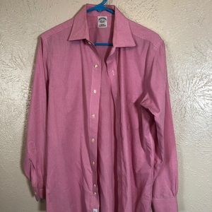 Pink and White Squares Brooks Brothers Dress Shirt